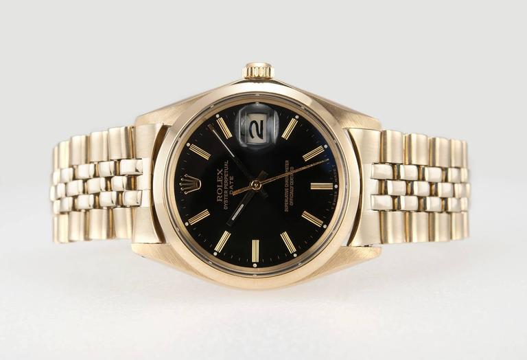 Rolex Yellow Gold Black Dial Date Wristwatch Ref 1503-8 4
