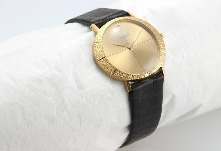 Rolex Yellow Gold Dress Wristwatch Ref 3613 In Excellent Condition For Sale In Los Angeles, CA