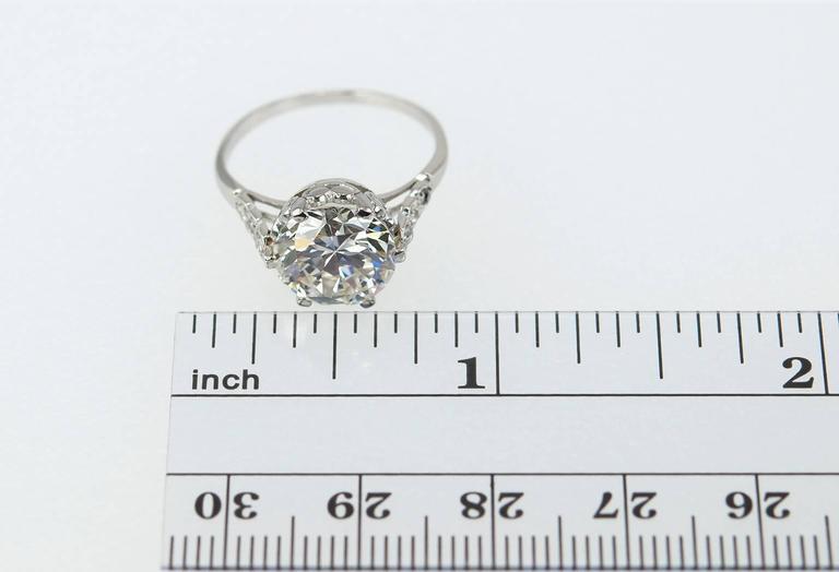 Edwardian 3.36 Carat old European Cut Diamond platinum Ring For Sale 4