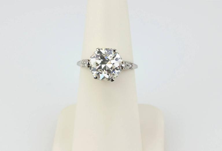 Edwardian 3.36 Carat old European Cut Diamond platinum Ring For Sale 2