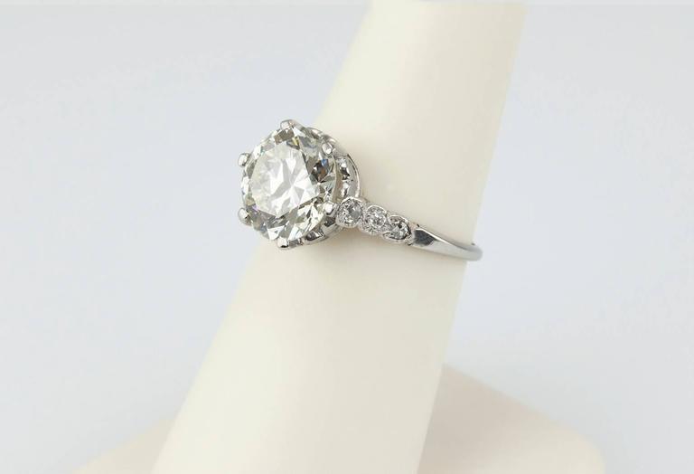 Edwardian 3.36 Carat old European Cut Diamond platinum Ring For Sale 1