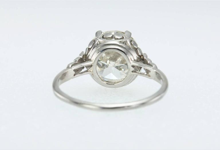 Edwardian 3.36 Carat old European Cut Diamond platinum Ring In Excellent Condition For Sale In Los Angeles, CA