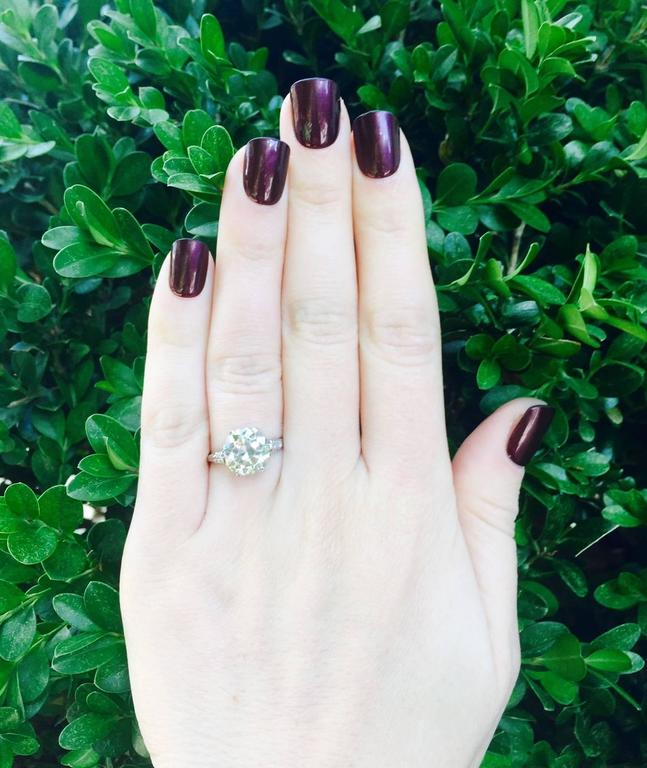 Women's Edwardian 3.36 Carat old European Cut Diamond platinum Ring For Sale