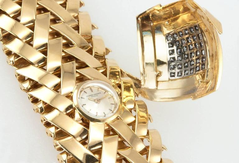 Vacheron & Constantin lady's yellow Gold Diamond Bracelet wristwatch In Excellent Condition For Sale In Los Angeles, CA