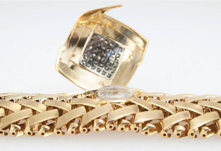 Vacheron & Constantin lady's yellow Gold Diamond Bracelet wristwatch For Sale 1