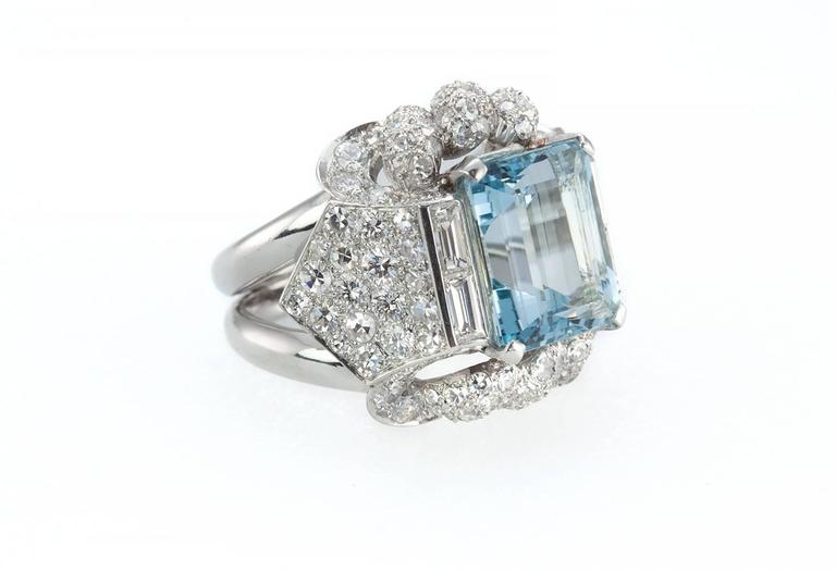 Baguette Cut 1960s Aquamarine Diamond Platinum Ring For Sale
