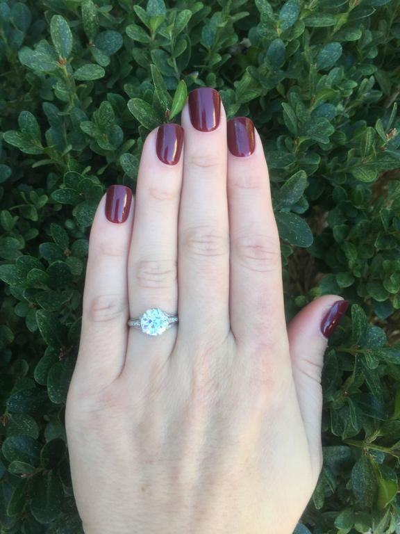 Edwardian 2.20 Carat Old European Cut Diamond Engagement Ring 6