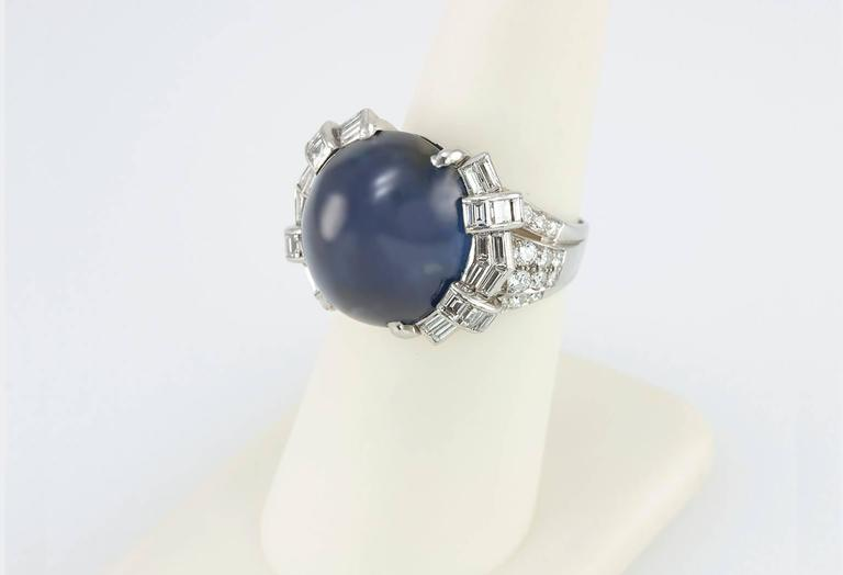 Art Deco Star Sapphire and Platinum Ring 4