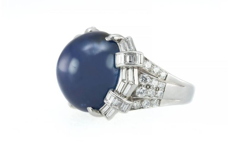 Art Deco Star Sapphire and Platinum Ring 3