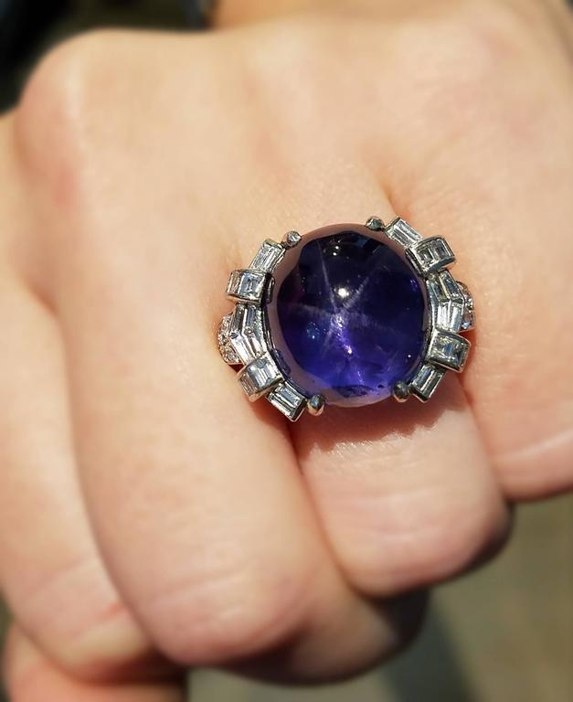Art Deco Star Sapphire and Platinum Ring 2