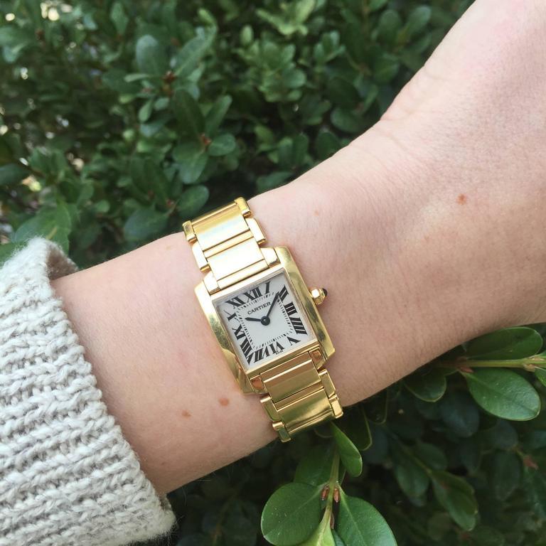 Cartier Ladies Yellow Gold Tank Française Quartz Wristwatch 3