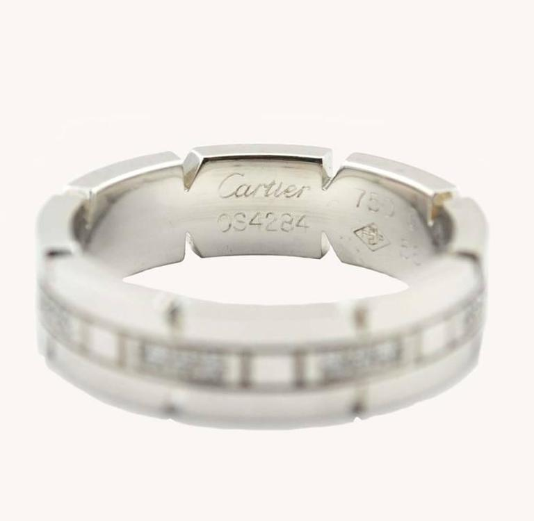 Cartier White Gold Tank Francaise Ring In Excellent Condition For Sale In Los Angeles, CA