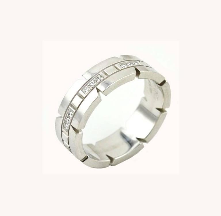 Cartier White Gold Tank Francaise Ring For Sale 1