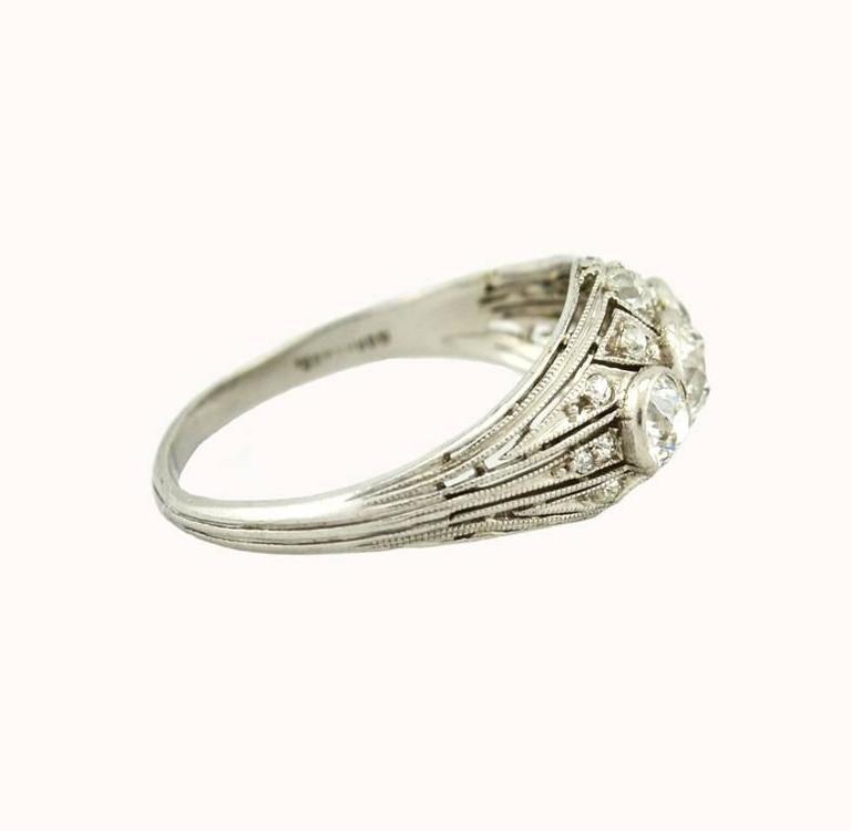 Art Deco Three-Stone Diamond Platinum Ring 3
