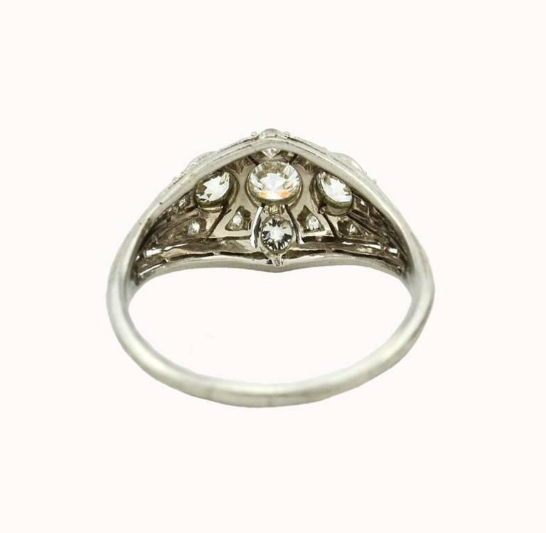 Art Deco Three-Stone Diamond Platinum Ring 5