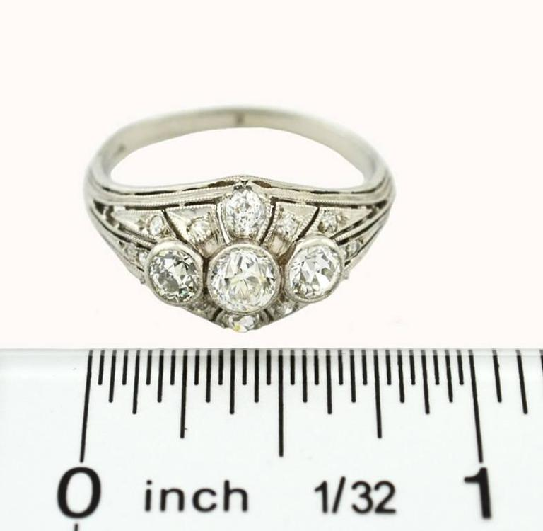 Art Deco Three-Stone Diamond Platinum Ring 6