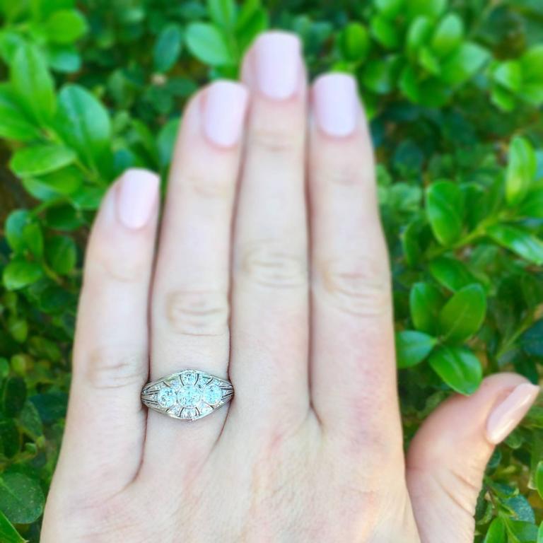 Art Deco Three-Stone Diamond Platinum Ring 7