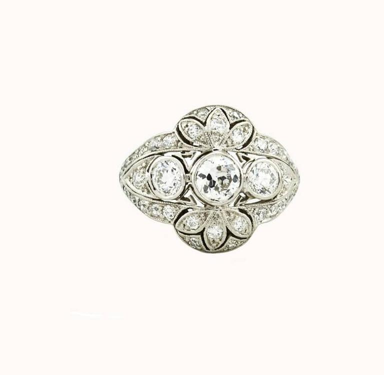 Edwardian Old European Cut Diamond Platinum Ring 2