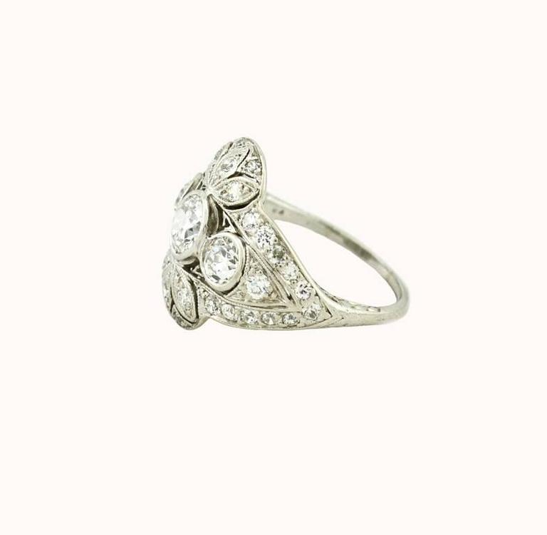Edwardian Old European Cut Diamond Platinum Ring 3