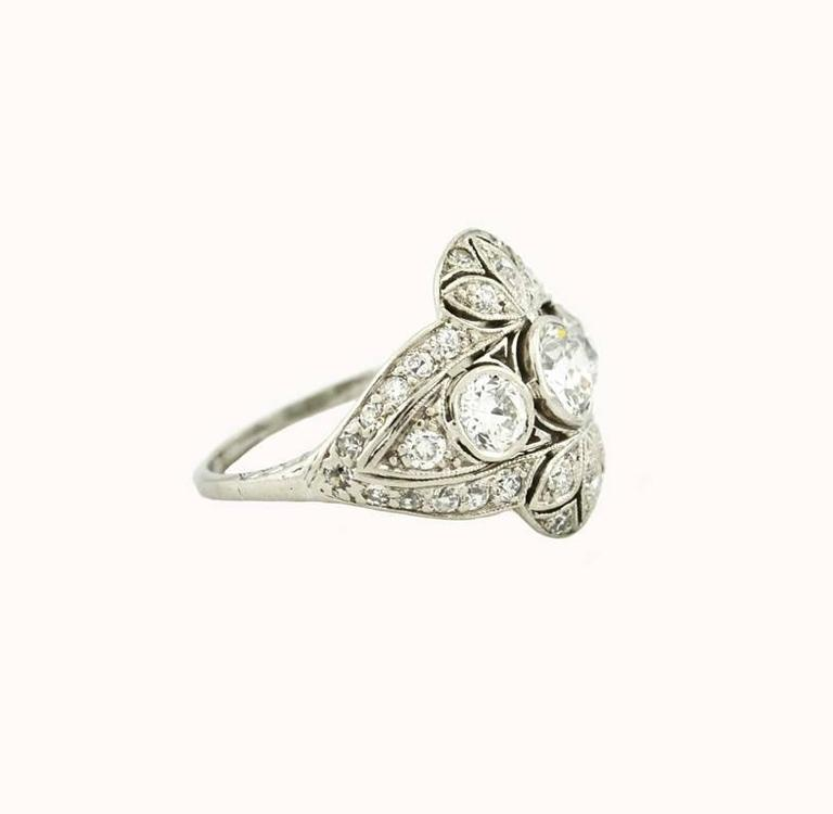 Edwardian Old European Cut Diamond Platinum Ring 4