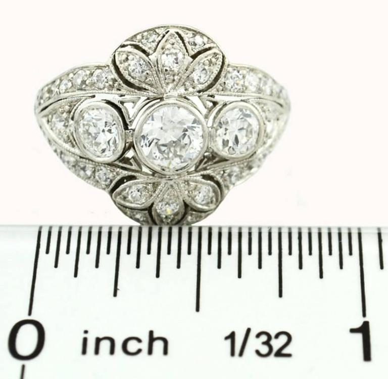 Edwardian Old European Cut Diamond Platinum Ring 7