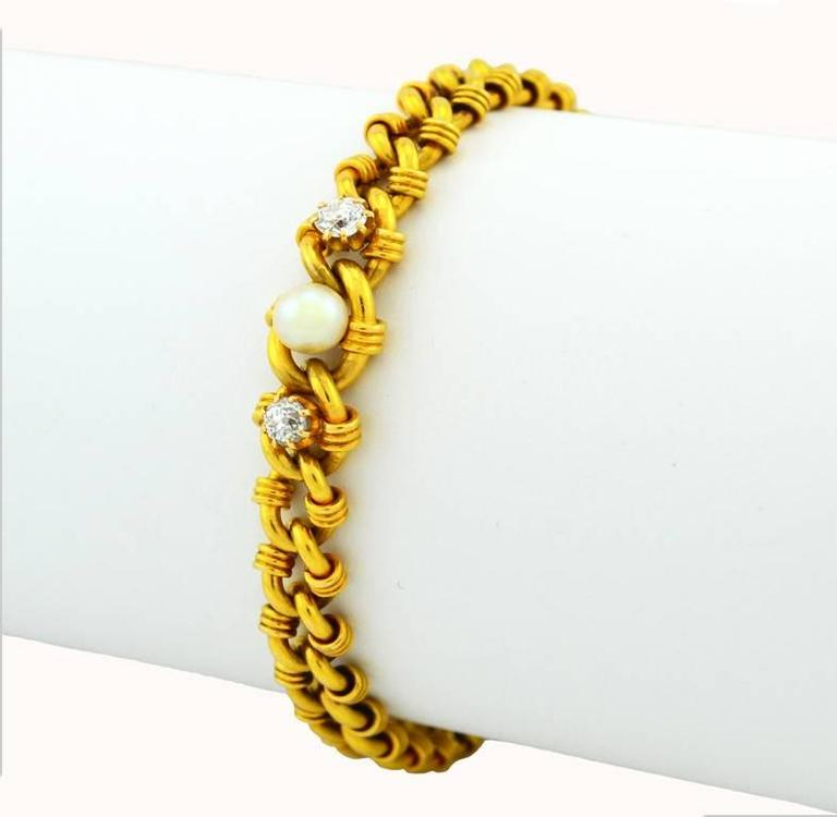 Victorian Gold Link Bracelet with Pearl and Diamonds 2