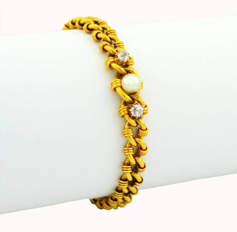 Victorian Gold Link Bracelet with Pearl and Diamonds 3