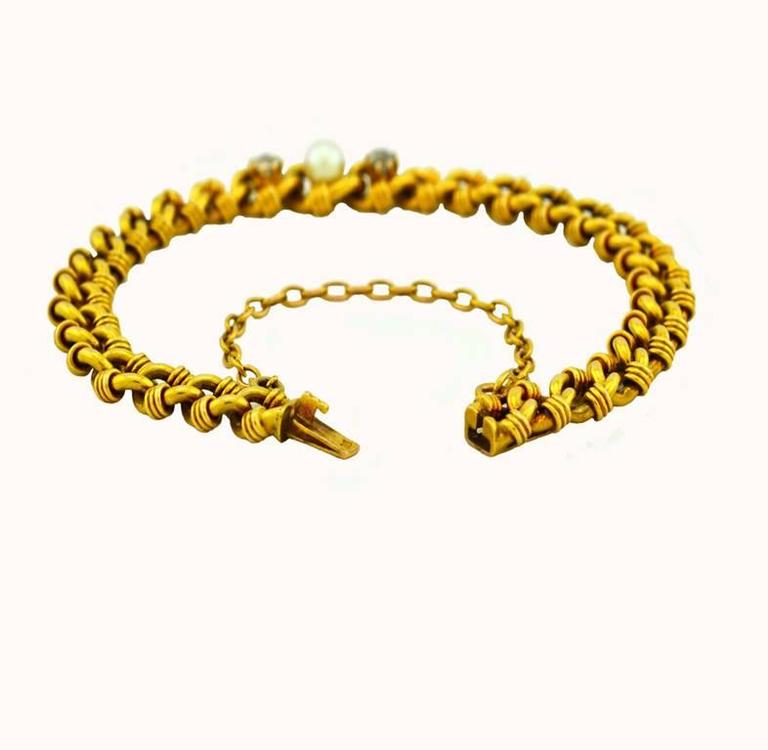 Victorian Gold Link Bracelet with Pearl and Diamonds 4