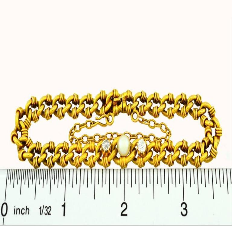 Victorian Gold Link Bracelet with Pearl and Diamonds 6