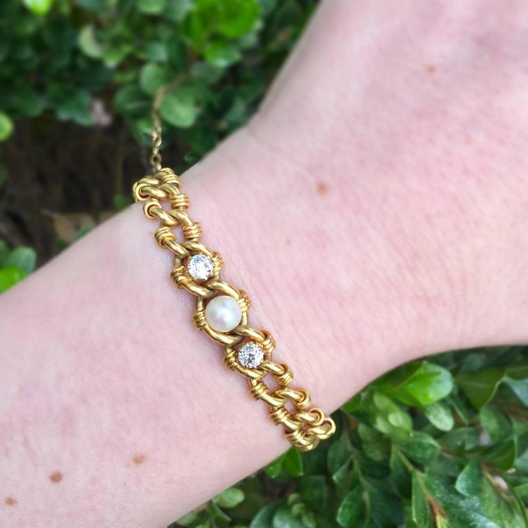 Victorian Gold Link Bracelet with Pearl and Diamonds 5