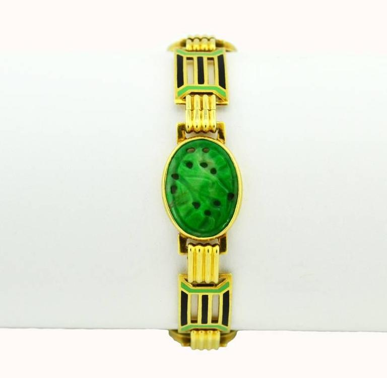 1920s Art Deco Enamel Carved Jade Gold Link Bracelet 2