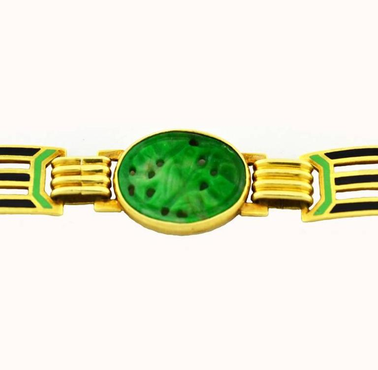 1920s Art Deco Enamel Carved Jade Gold Link Bracelet 4