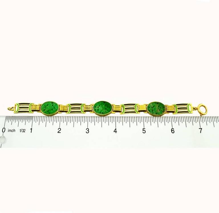 1920s Art Deco Enamel Carved Jade Gold Link Bracelet 5