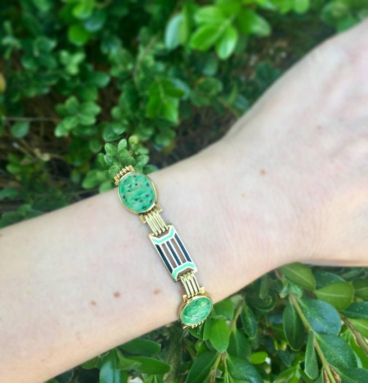 1920s Art Deco Enamel Carved Jade Gold Link Bracelet 6
