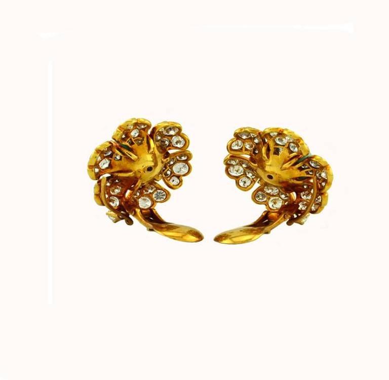 David Webb Turquoise Diamond Gold Cluster Earrings 3