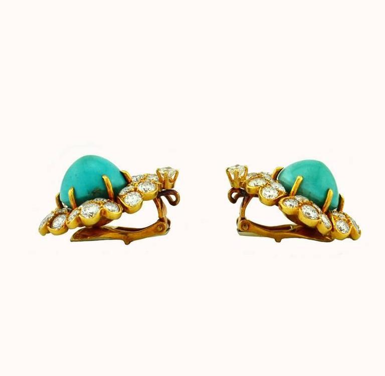 Women's David Webb Turquoise Diamond Gold Cluster Earrings For Sale