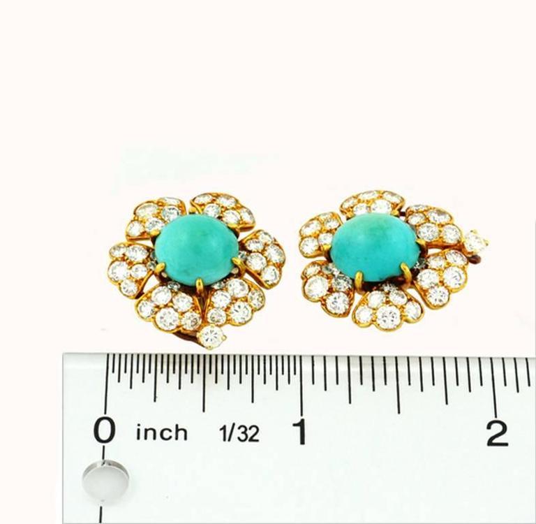 David Webb Turquoise Diamond Gold Cluster Earrings For Sale 1
