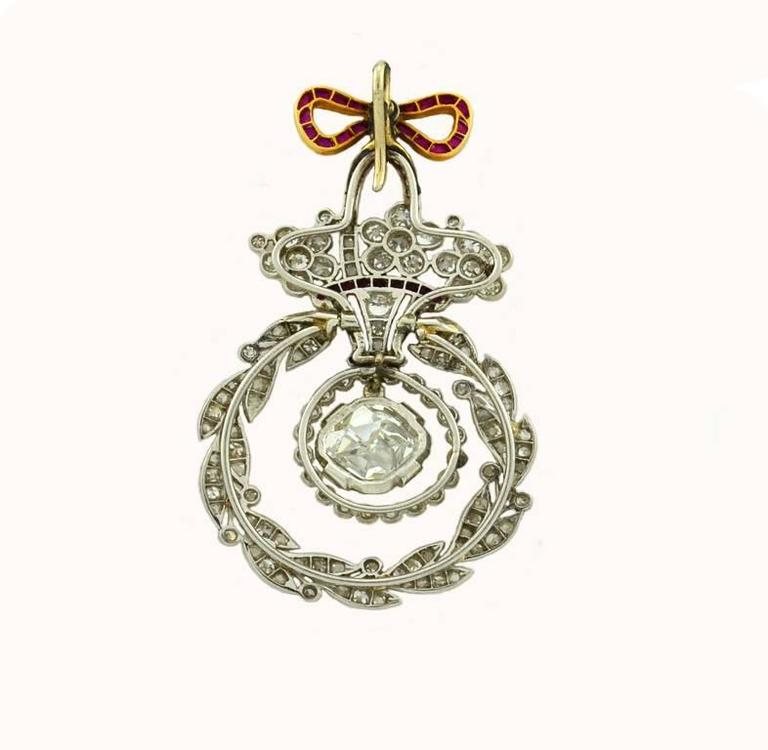 Belle Epoque Ruby Diamond Platinum Pendant 2