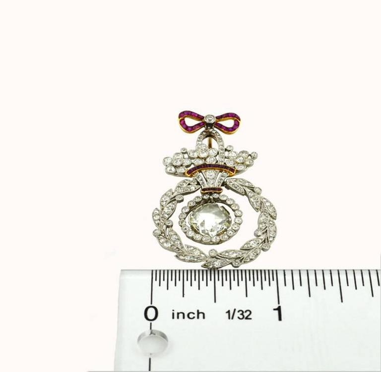 Women's Belle Epoque Ruby Diamond Platinum Pendant For Sale