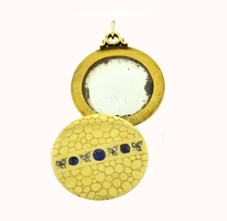 Antique Sapphire Diamond Gold Locket Necklace For Sale At