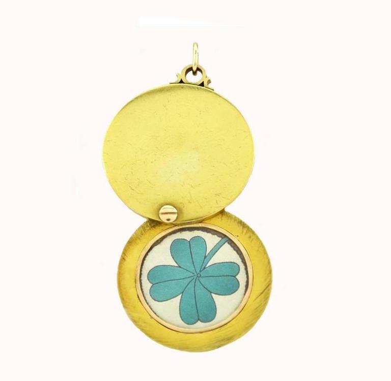 Antique Sapphire Diamond Gold Locket Necklace  3