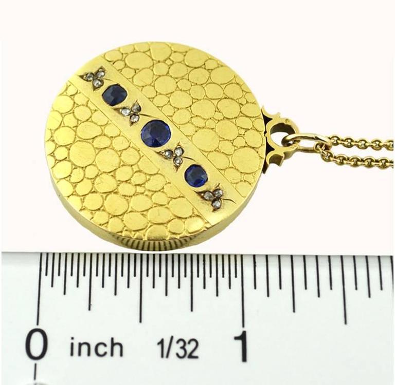 Antique Sapphire Diamond Gold Locket Necklace  4