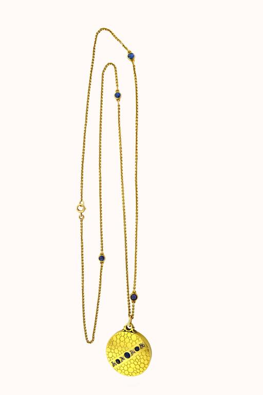 Antique Sapphire Diamond Gold Locket Necklace  6