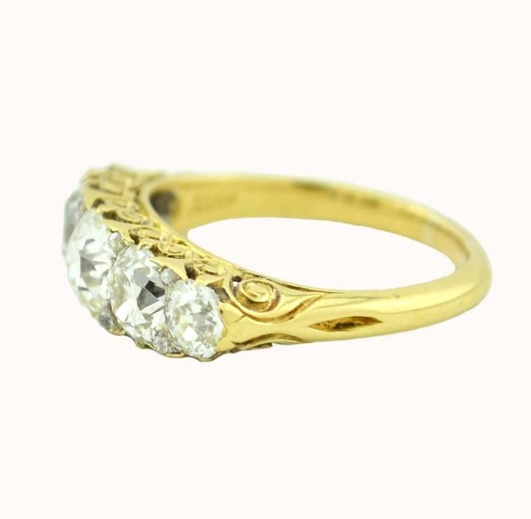 Stunning Victorian Five Stone Old Mine Cut Diamond Ring 3