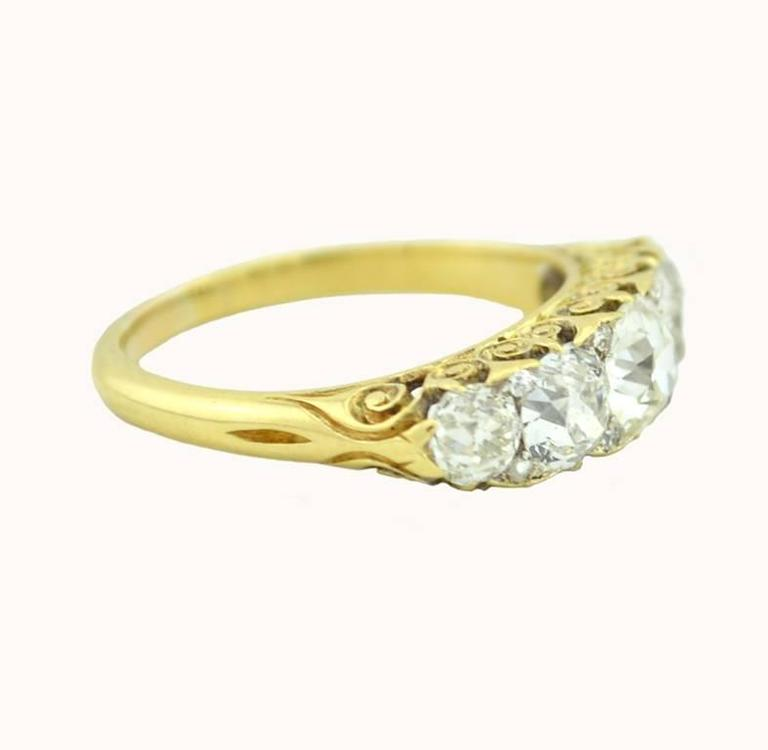 Stunning Victorian Five Stone Old Mine Cut Diamond Ring 4