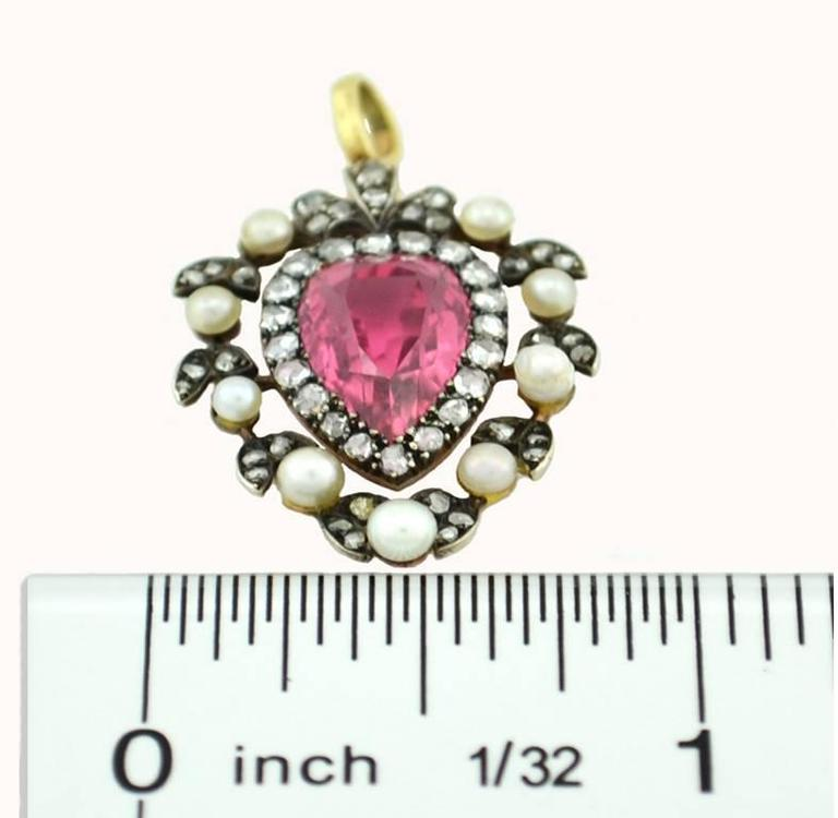 Victorian Tourmaline Pendant with Rose Cut Diamonds and Pearls 3