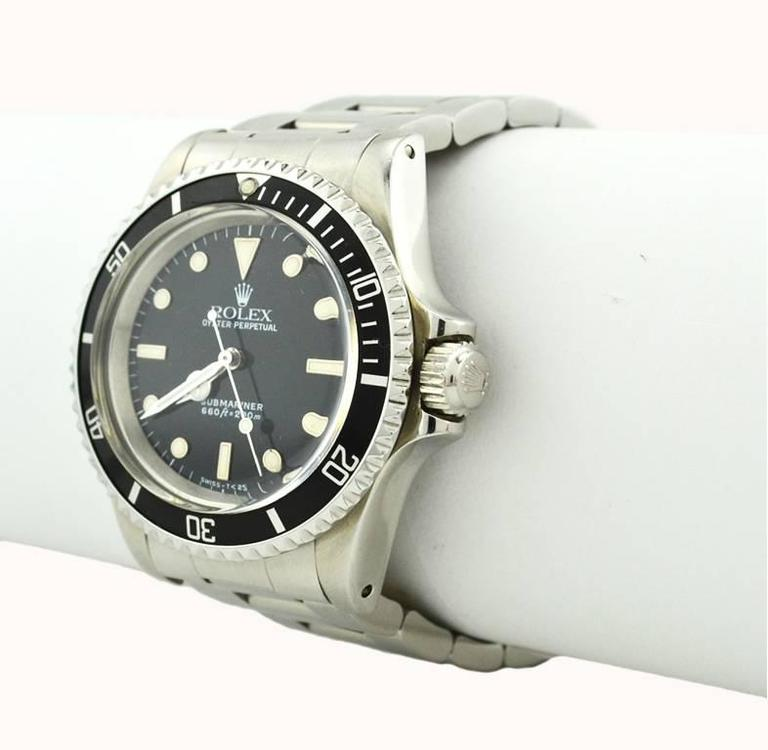 Women's or Men's Rolex Stainless Steel Submariner Wristwatch Ref 5513, circa 1988 For Sale