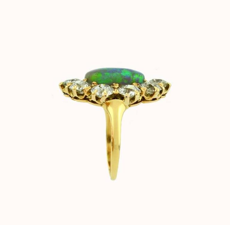 Victorian Opal Diamond Gold Cluster Ring 2