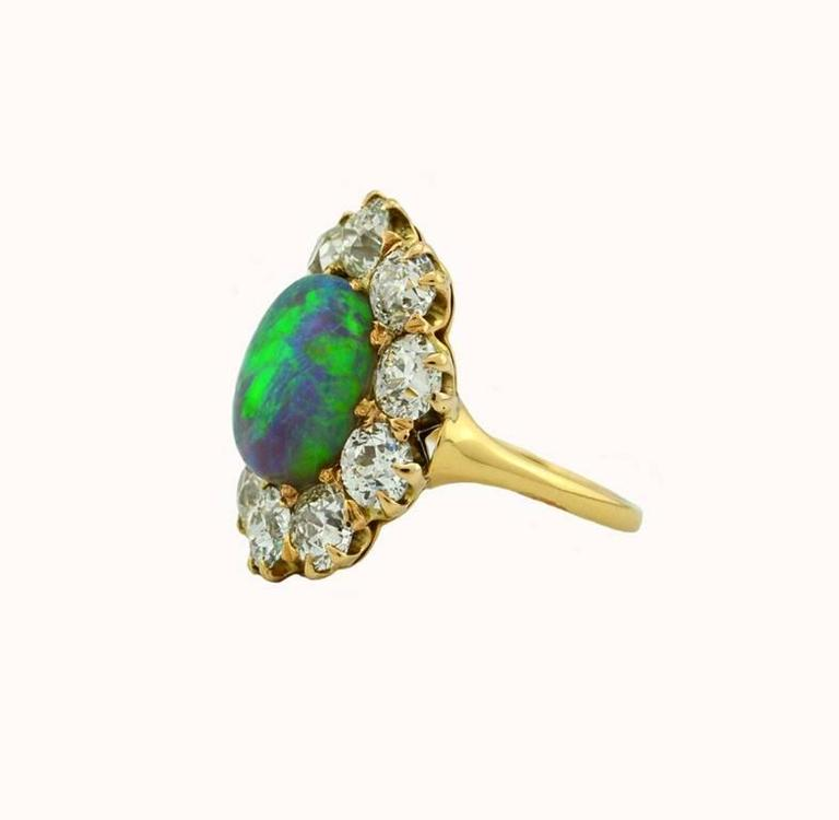 Victorian Opal Diamond Gold Cluster Ring 3