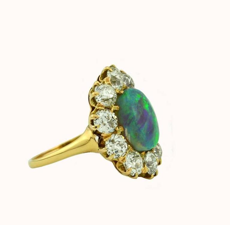 Victorian Opal Diamond Gold Cluster Ring 4